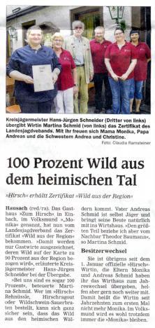Zeitungsartikel: 100 Prozent Wild aus dem heimischen Tal